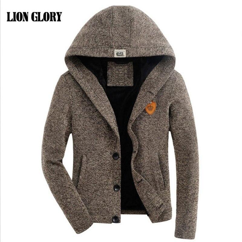 Cardigan masculino outono e inverno mais grosso veludo com capuz cardigan camisola mais grosso veludo com capuz cardigan cor sólida
