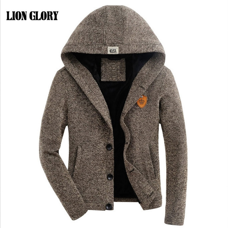 Men Cardigan Fall And Winter Plus Thick Velvet Hooded Cardigan Sweater Plus Thick Velvet Hooded Cardigan Solid Color Sweater Men