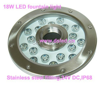 stainless steel,18W LED fountain light,underwater LED spotlight,18*1W,24V DC,IP68,DS-10-50-18W,constant voltage,