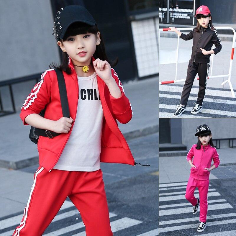 ФОТО 2 pcs kids girls set clothes red black kid girls sport suits set children school clothing pants coats set 2017 new spring autumn