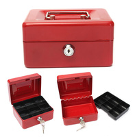 Portable Steel Petty Lock Cash Mini Safe Box For Home School Office With Compartment Tray Lockable
