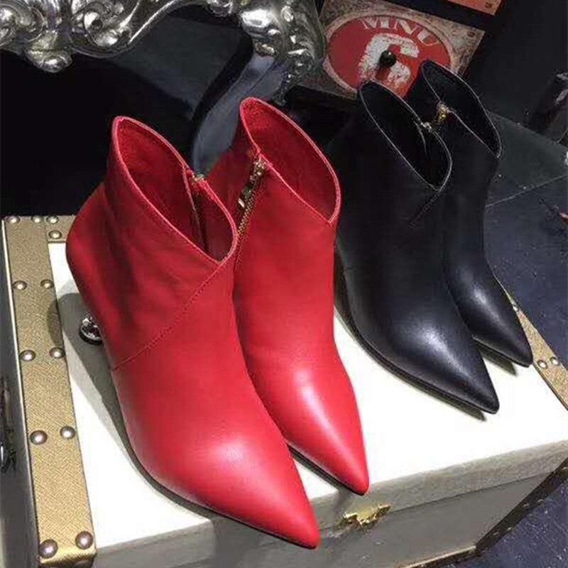 Mode Cheville Cuir Court Botas Noir Feminino Rouge Véritable Dames Marée Bottes Haute Cm 6 Zipper Mujer Chaussures En Noir rouge Femmes Talons De Sapato pUqHn0rp
