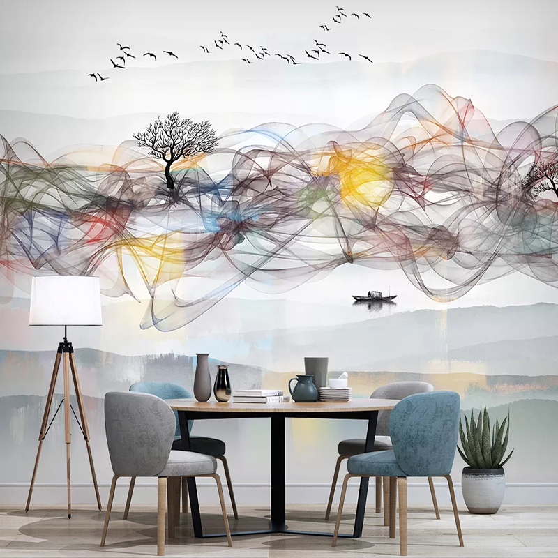 Photo Wallpaper Modern New Chinese Style Abstract Ink Smoke Landscape Murals Living Room TV Sofa Background Wall Decor Stickers