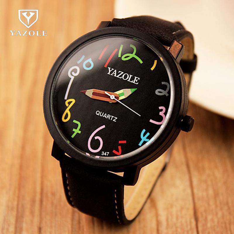 Fashion YAZOLE Relogio Masculino Feminino Lovers Men Women Quartz Watch Rainbow Pencil Wristwatches Children Watch 347