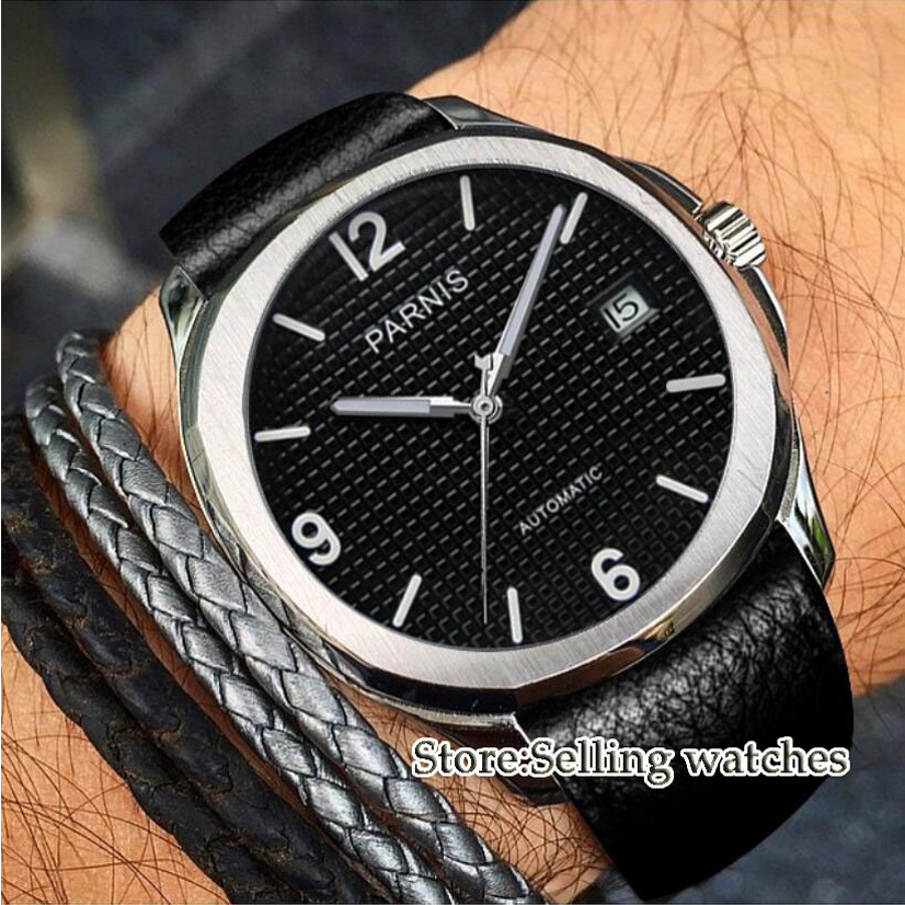 40mm PARNIS 21 jewels miyota movement Black Dial Sapphire Automatic men's Watch 40mm parnis white dial vintage automatic movement mens watch p25