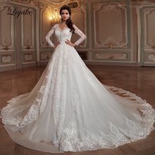 Liyuke Embroidery Appliques And Lace With V Neck A-Line Wedding Dress of Full Sleeve Gown