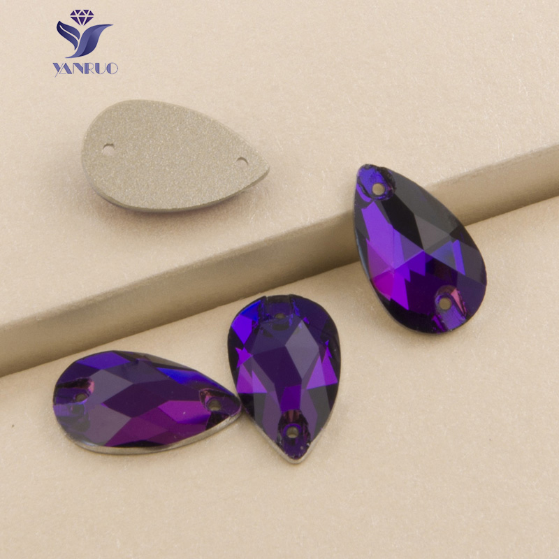 YANRUO 3230 Drop Purple Purple Carpet on Rhinestones Glass Qew Crystal Flatback Rhinestones دوخت سنگ های کریستالی برای لباس