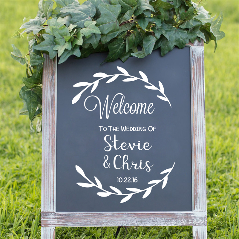 Personalised Welcome to the Wedding of Decal Sign Rustic Wedding Decor Decals Removable Custom Name Date sticker image