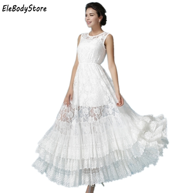 6f3f411588a ELEBODYSTORE 2018 Summer Style Women Long Sexy White Lace Casual Dress Maxi  Vestidos Vintage Chiffon Dresses Party Sleeveless