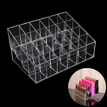 SHNGki Lipstick Storage Box 24 Grid New Acrylic Transparent Makeup Organizer Cosmetic Display Stand Lipstick Holder(China)