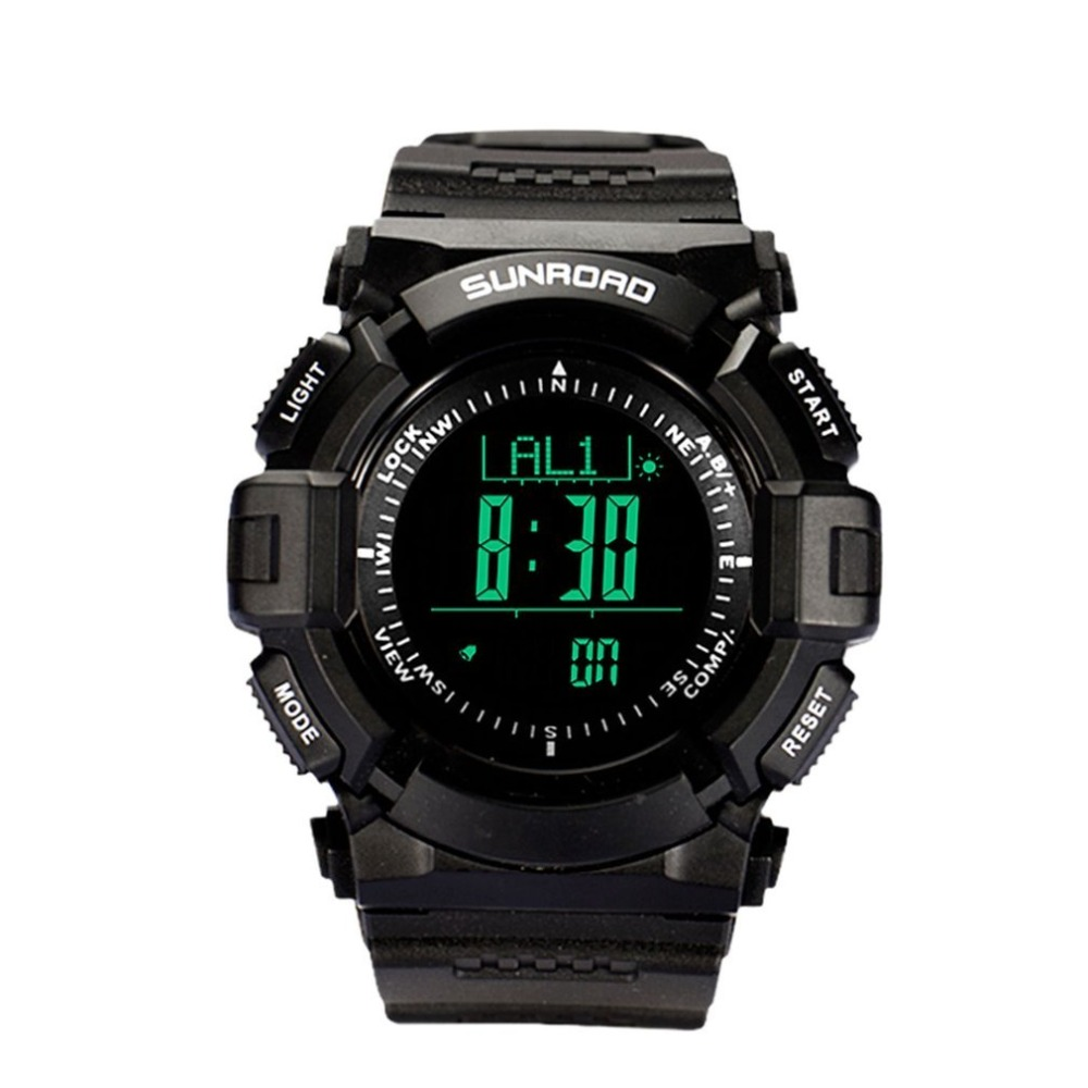 SUNROAD Multifunctional Men Outdoor Sport Watches Digital Electronic Hiking Altitude Chronograph Wrist Watch Black jul 6
