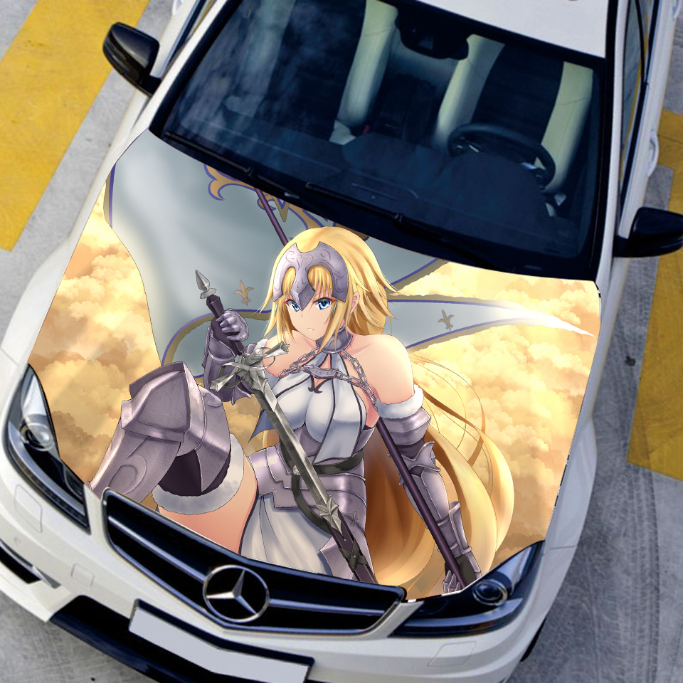 Us 46 67 17 offanime characters custom sticker fate grand order ace joan of arc hood stickers engine cover decals paint film sticker on car in car