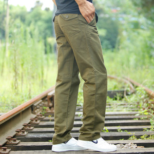 High Quality Men's Casual Loose Pants Spring Autumn Cotton Army Military Multi-Pocket Cargo Pants Men Overalls Long Trousers(China)