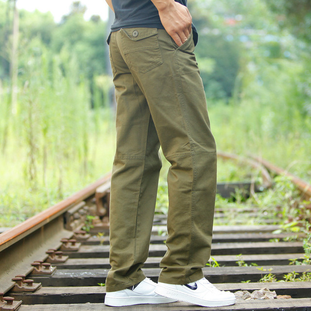 High Quality Men's Casual Loose Pants Spring Autumn Cotton Army Military Multi-Pocket Cargo Pants Men Overalls Long Trousers
