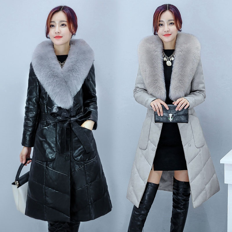 2017 New Arrival Warm Thick Parkas Sheepskin Leather Faux Fox Fur Jacket Women Winter Windproof Cotton Coat With Sashes MY0001 free shipping woman with thick warm winter leather fox fur fur fashion coat m xxl