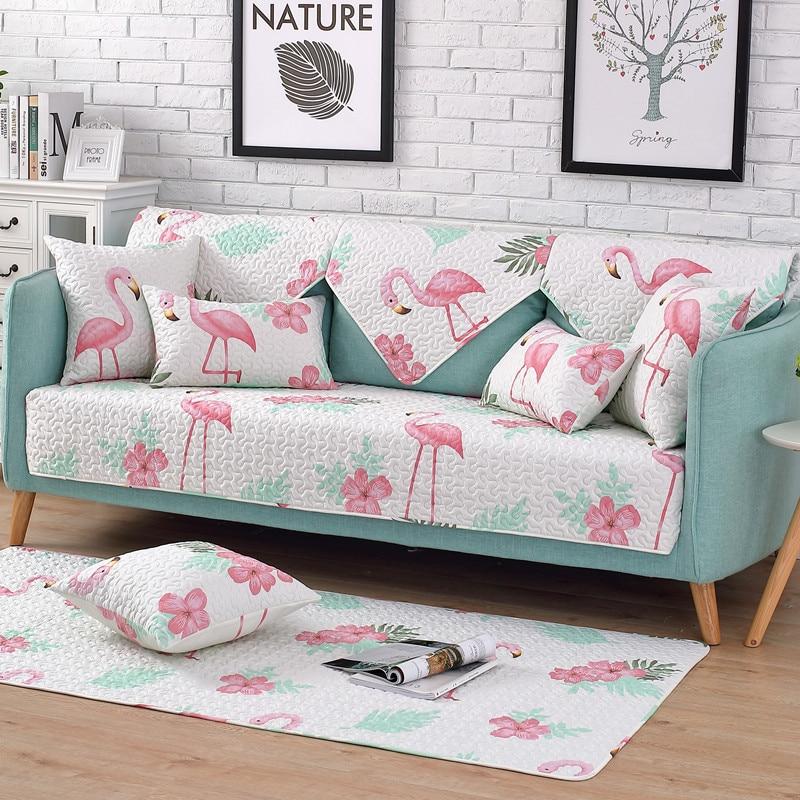 Deftig 1 Stuk Katoen Sofa Cover Flamingo Plant Gedrukt Zachte Moderne Antislip Sofa Hoes Seat Couch Cover Voor Woonkamer