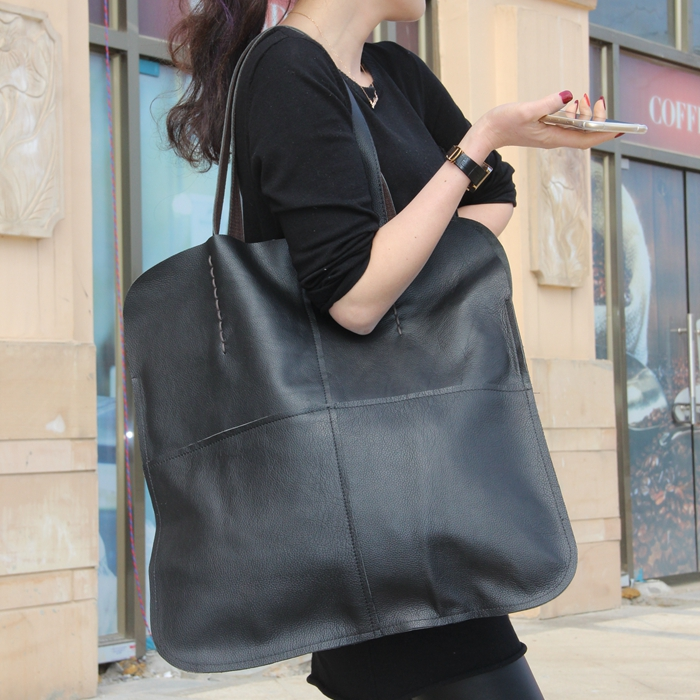 купить women's genuine leather big casual shouler bag large capacity cowhide tote handbag high quality solid color black shopping bag недорого