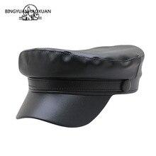 купить 2019 New Military Hats Fashion Women Autumn Winter Visor Cap PU Leather Black Unisex Flat Top Army Hat дешево