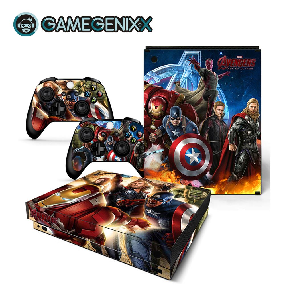 GAMEGENIXX Skin Sticker Protective Vinyl Decal for Xbox One X Console and 2 Controllers - The Avengers(China)