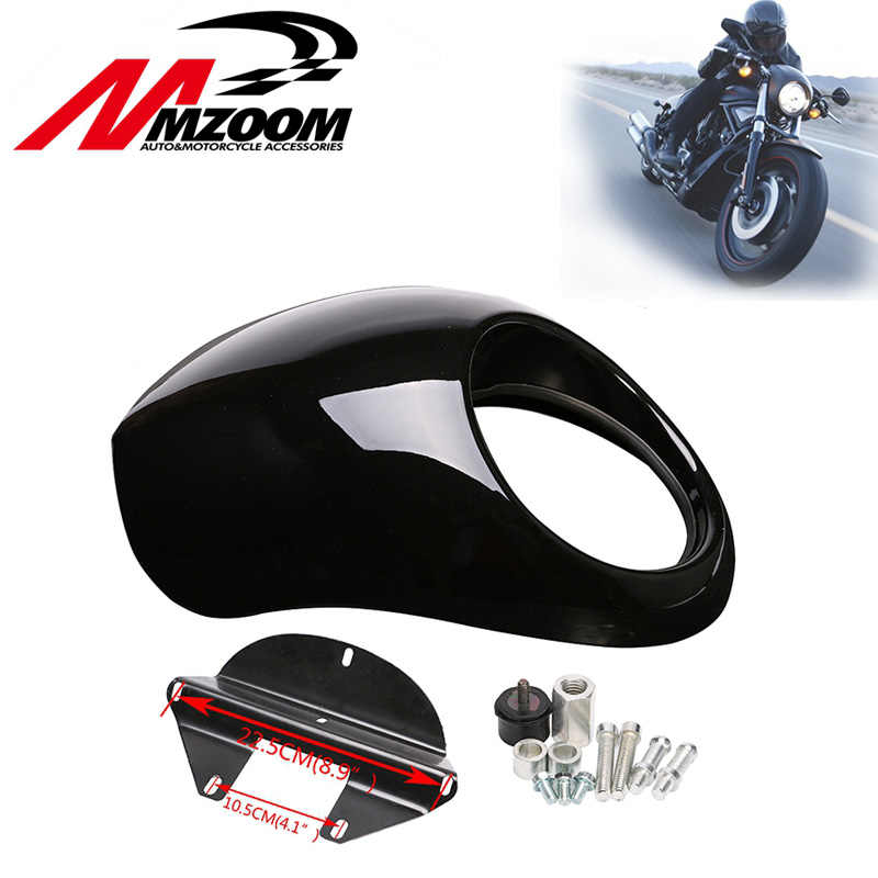 Mzoom Black Headlight Plastic Front Visor Fairing Cool Mask Bezel For Harley 883 XL1200 Dyna Sportster FX Motorcycle Auto