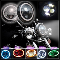 2pcs 1pcs 45W 4500lm Motorcycle 7 Inch Headlights Projector Daymaker LED Headlight Angel Eye H4 H13 Harness, Halo HeadLamp