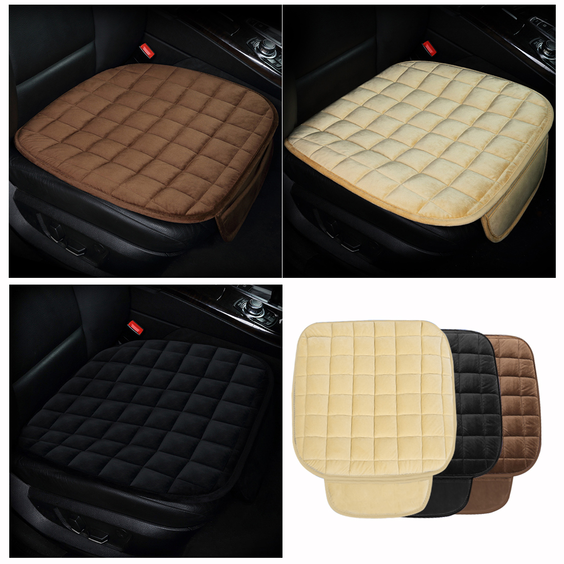 Dewtreetali Velvet Car <font><b>Seat</b></font> <font><b>Covers</b></font> Front <font><b>Seat</b></font> Protector Pad Breathable Winter Warm Cushion for <font><b>Peugeot</b></font> <font><b>206</b></font> BMW Ford Focus 2e46 image