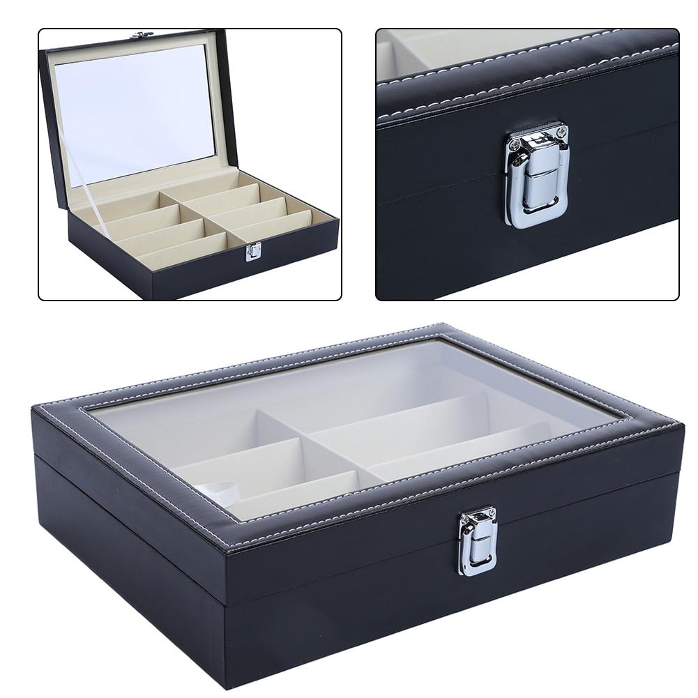 New PU Leather Tray Organizer Holder Box 8 Grid Eyewear Sunglasses Glasses Storage Display Case Box