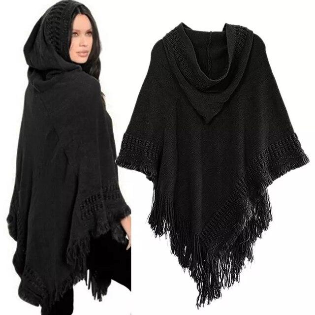 Ladies Tassel Cape Coat Poncho 1