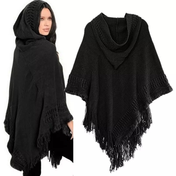 New Women Ladies Tassel Cape Coat Fringe Poncho Oblique Stripe Coat Bohemian Shawl Scarf