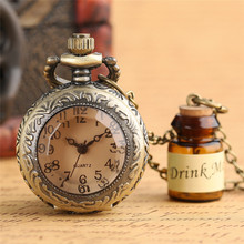 Antique Bronze Drink Me Design Brass Quartz Pocketh With Necklace Chain For Gift
