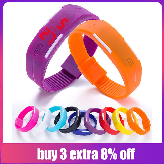 FUNIQUE 2019 Sport LED Watches For Running Candy Color Silicone Rubber Watch Bra