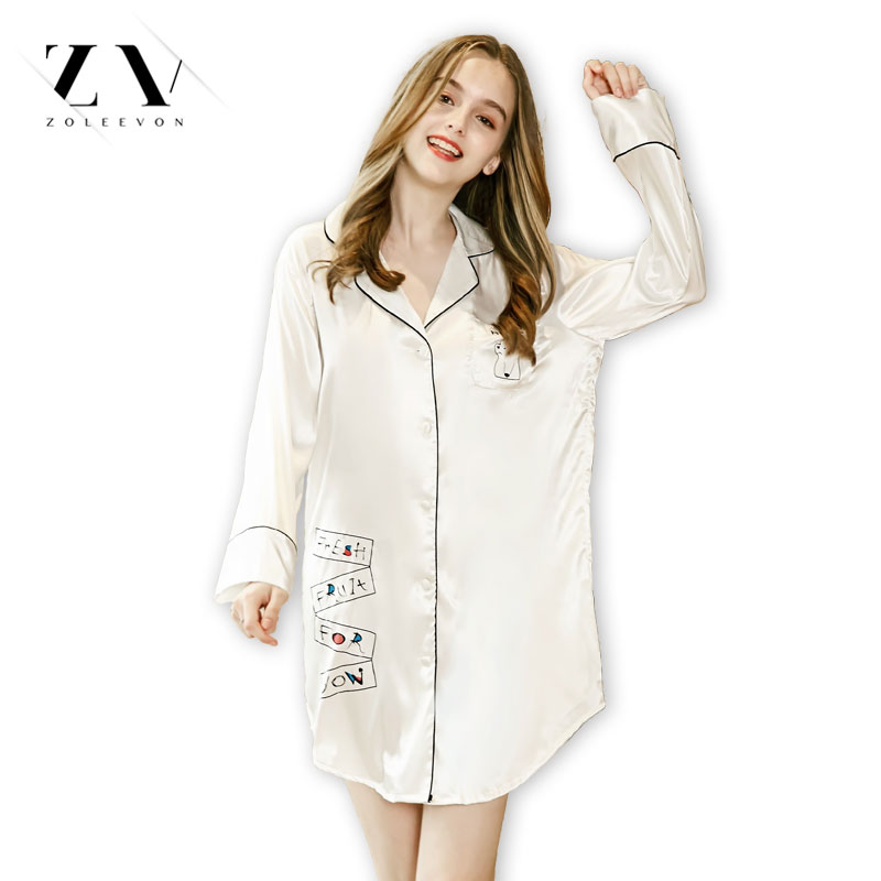 ZOLEEVON Autumn Stripe nightdress solid Sexy   nightgowns   women   sleepshirts   silk fresh simple Women Sleepwear