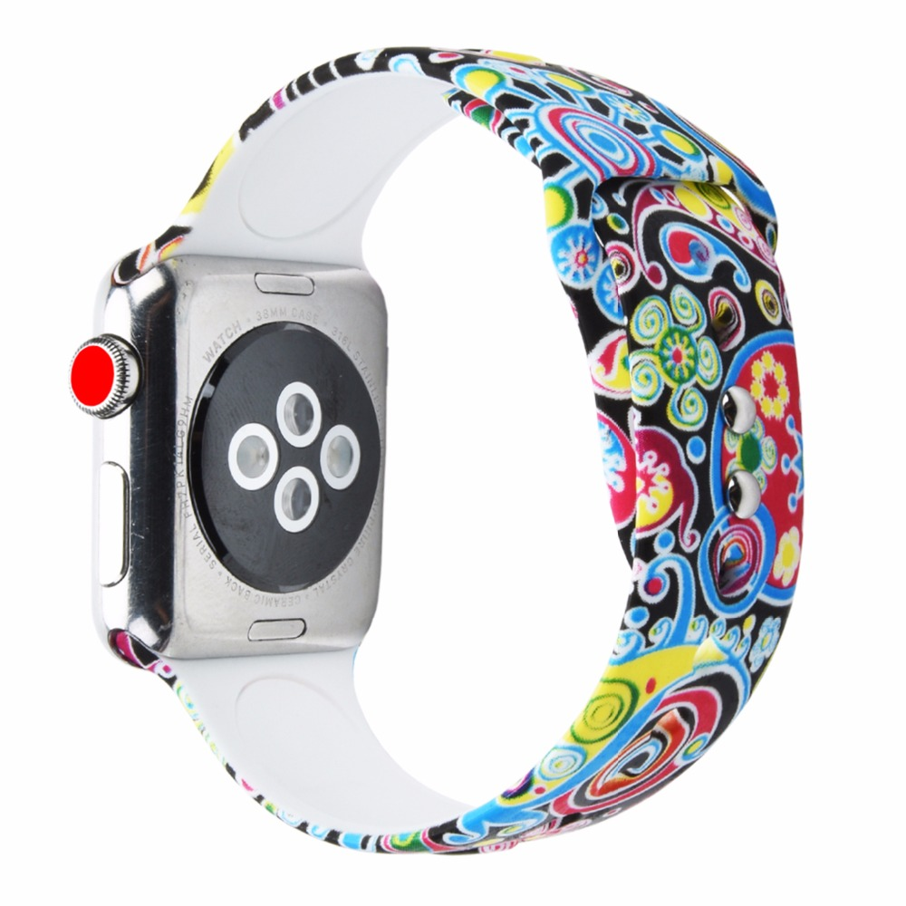 Bemorcabo for Apple Watch Band 44mm 38mm 42mm 40mm Soft Silicone Floral Flower Strap Band Wristbands for Apple Watch 4 3 2 1