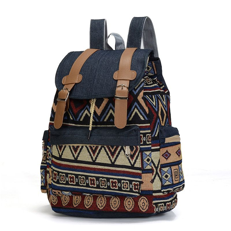 High Quality Women Canvas Vintage Backpack Ethnic Backpacks Bohemian Backpack Schoolbag