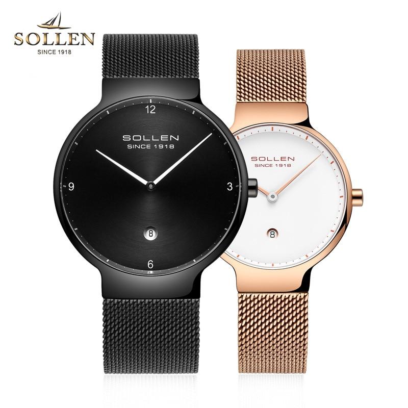 SOLLEN Top Brand Luxury Fashion Watch Men Ultra Thin Gold Steel Mesh Watches Women Dress Quartz Watch Ultrathin Lovers Clock
