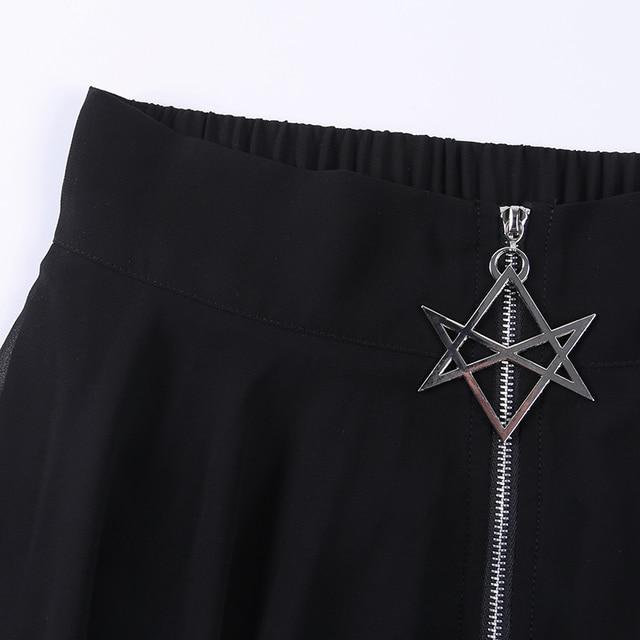 Summer Mesh Irregular Women Skirts Pentagram Zipper Black Punk Skirts Gothic Darkness Lady Skirt Casual Loose Streetwear Skirts 6