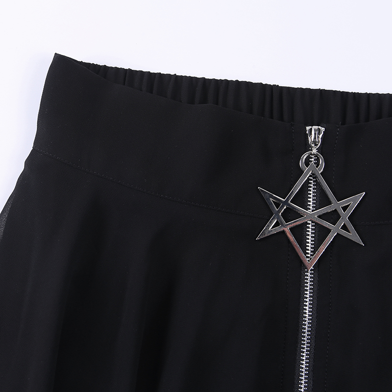 Image 5 - Summer Mesh Irregular Women Skirts Pentagram Zipper Black Punk Skirts Gothic Darkness Lady Skirt Casual Loose Streetwear Skirts-in Skirts from Women's Clothing