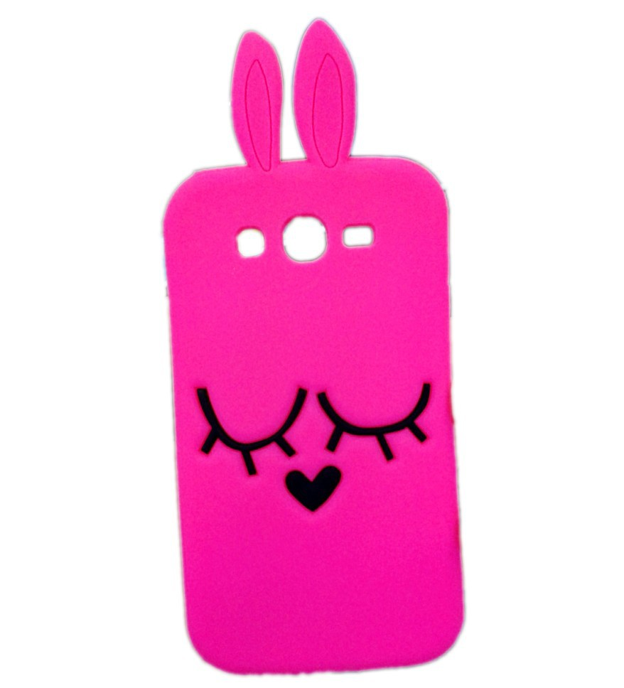 3D Cute Cartoon Hot Pink Rabbit Soft Silicone case Back cover Samsung Galaxy Grand neo Plus i9060 i9062 - Made In China Centre store