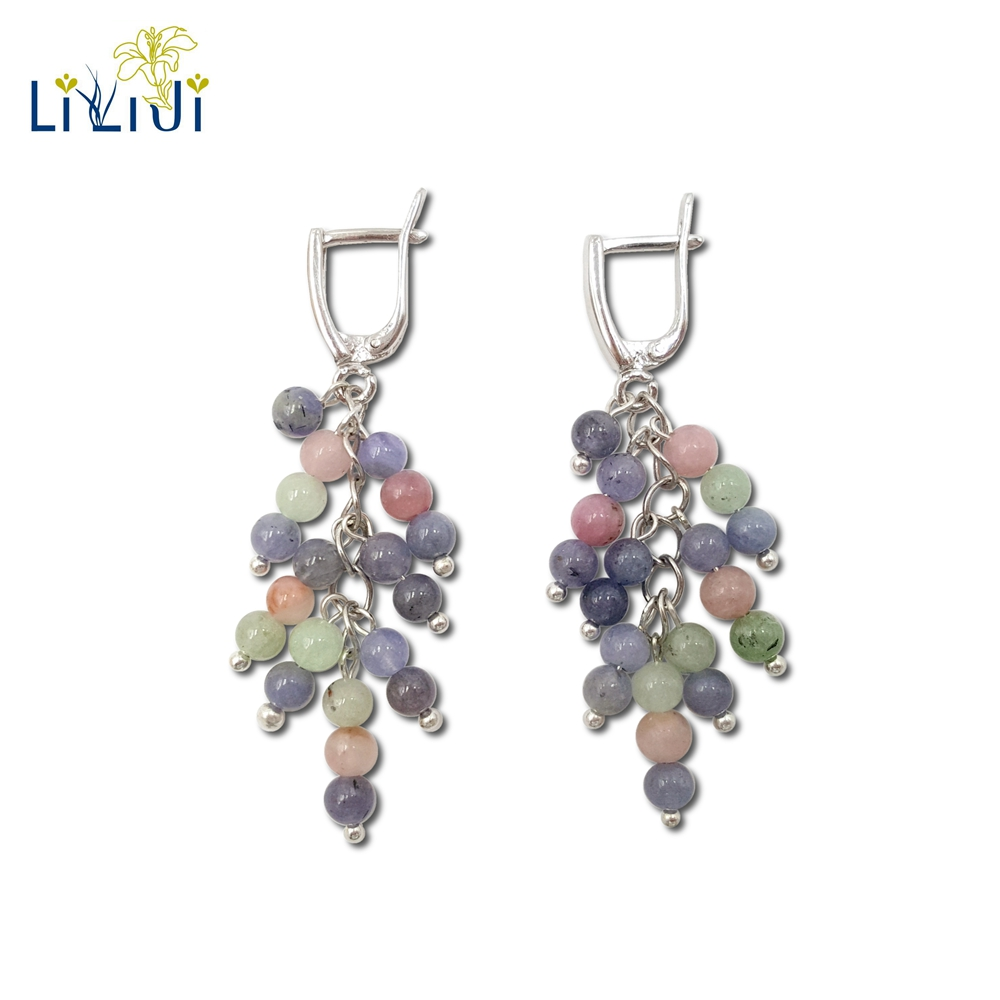 Lii Ji Gemstone Natural Tanzanite,Tourmaline 925 Sterling Silver Gold Plated Long Earring Women Fashion JewelryLii Ji Gemstone Natural Tanzanite,Tourmaline 925 Sterling Silver Gold Plated Long Earring Women Fashion Jewelry