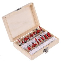 15pcs 12pcs Professional Shank Tungsten Carbide Router Bit Set Wood Case Tool Kit Milling Cutter Router