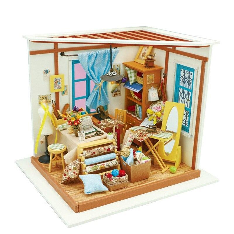 Loja do alfaiate DG101 Inteligência Engraçado Presente Com Móveis casa de Bonecas Kit DIY Casa de Bonecas Em Miniatura Conjunto de Montar Amigos Presente
