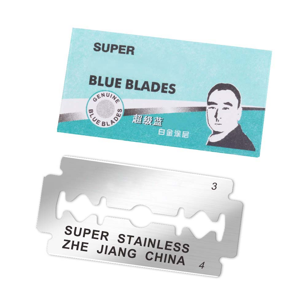 50pcs Brand Shaving Razor Blades for Men Face Clean Stainless Steel Double Edge Shaver Blades Safety Razor Blades Super Blue  2