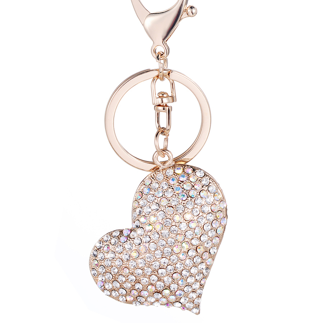 fef72c4ea9342 Creative Keychain!Novelty Rhinestone Heart Key Chain Rings Holder Charm  Alloy keyring Women Bag Jewelry Souvenir Lover Gift R034