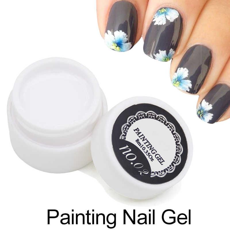 1 pièces Peinture UV Gel Vernis 3D Nail Art Peinture Couleur Gel Dessiner Peint 12 Couleur Acrylique UV Gel Pointe bricolage Semi-Permanente