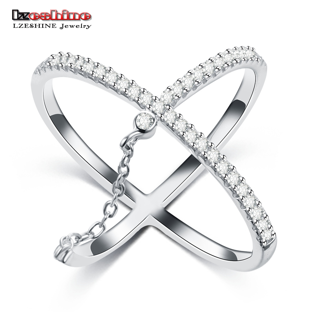 LZESHINE Fashion New Cross Finger Rings For Women Brand Street Shoot Trendy Jewelry 100% 925 Sterling Silver Party Ring bijoux