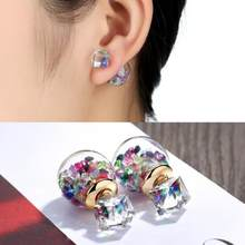 Fashion Jewelry Wholesale 2018 New Design Zircon Stud Earring Gold Color Cheap Crystal Stud Earrings Best Cute Gift For Woman(China)