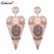 Sehuoran Brincos Boho Drop Earrings For Woman Big Resin Pendients Match Angel Fashion Jewelry Statement Earrings Oorbellen Ear