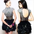 Miel de Plumas negro Rhinestone Vestido de Fiesta Cóctel de Vestuario Lentejuelas Cena Instalada vestido de Moda Sexy Vestido Formal Del Diseño Corto