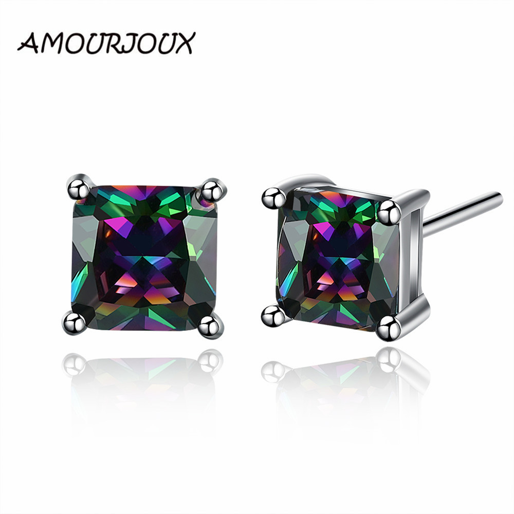 2016 Squared Colorful Zircon Inlay White Gold Color Stud Earrings For Women Men Trendy Studs Female For Party Weddings