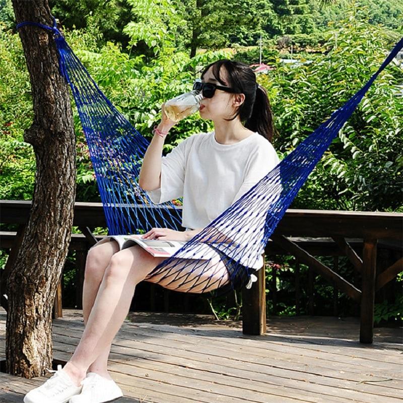 1-2 Person Portable Garden Nylon Hammock Swing Hang Mesh Net Sleeping Bed Hamaca For Outdoor Travel Camping Hamak Blue Green